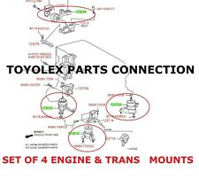 NEW OEM GENUINE TOYOTA 2014 CAMRY 4 CYL ENGINE & TRANSMISSION MOUNTS (QTY 4)