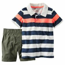 NWT Baby Boys 3m 3 MONTHS CARTER'S Shorts Set Striped Polo shirt &  shorts