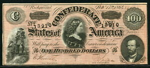 USA Confederate States of America 1864, 100 Dollars, UNC