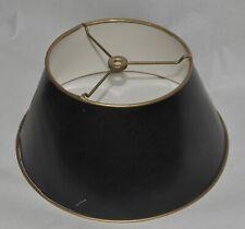 "Vintage Bouillotte Lampshade Black Gold Paper Cardboard Tole Artemis Studios 12"""