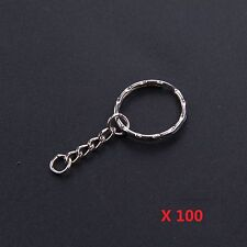 100pcs Keyring Blanks Silver Tone Key Chains Split Rings 4 Link Chain