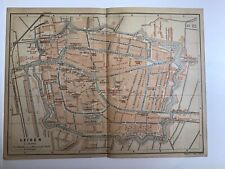 LEIDEN, 1901 Antique City Street Map Original, Holland, RAILWAYS, Buildings