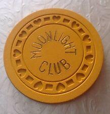 1930's MOONLIGHT CLUB CHICAGO ILLINOIS ILLEGAL YELLOW GAMBLING CHIP SPEAKEASY