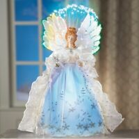 Fiber Optic Intricate Lace and Silver Glitter Winter Angel Christmas Tree Topper