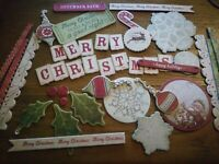 40 x Joblot Sticky Backed Sentiments Christmas Mix Card & Scrapbook Toppers