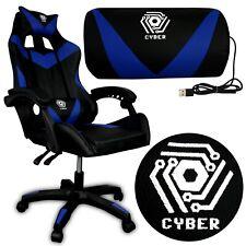Gaming Stuhl CYBER Racing Massagefunktion Gaming Chair Drehstuhl Spielstuhl Blau
