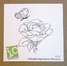 """IMPRESSION OBSESSION """"ROSE & BUTTERFLY"""" RED RUBBER CLING STAMP E6018 - NEW"""