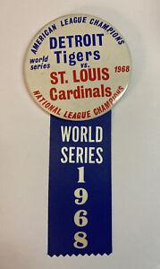 Vintage 1968 World Series Pin / Ribbon Detroit Tigers/ St Louis Cardinals