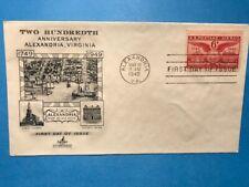 #C40 FDC Artcraft 1949 L948 6c Airmail Alexandria Virginia Bicentennial