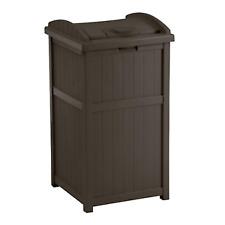 outdoor trash hideaway | suncast garbage patio can deck waste lid java bin resin