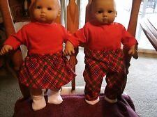 Bitty Baby boy&girl TWINS set red plaid pants/skirt/tees and socks