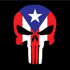 PUERTO RICO CAR DECAL STICKER PUNISHER SKULL with FLAG #271