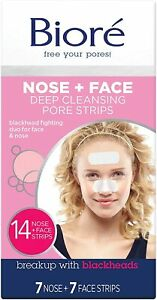 Biore Deep Cleansing Pore Strips for Blackhead Removal,Pack of 14 (7 Nose&7face