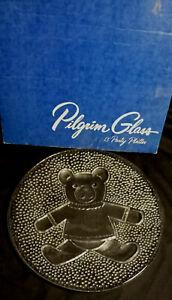 """Vtg Pilgrim Clear Glass 13"""" Teddy Bear Party Platter #482 Hobnail Underside"""