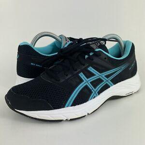 Asics Gel Contend 5 Black/Blue Running Shoes 1012A234 Women's Size 8