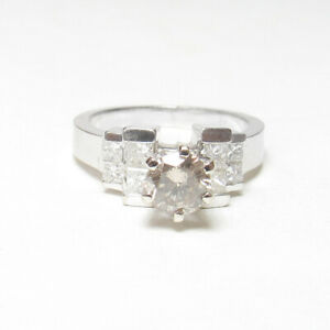 14K White Gold WEIGHED Cognac 0.57 Ct Brilliant Cut Diamond Ring 1.01 Cts Total