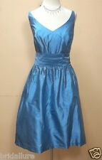 PURELY ALFRED ANGELO 7105 FRENCH BLUE SILK DUPIONI 8 BRIDESMAID GRAD MOMS DRESS