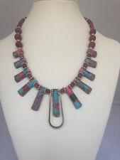 "Dakota Stones Pink and Blue Impression Jasper Ladder Pendants Necklace. 18"""