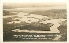 Glasgow Montana~Fort Peck Dam~Aero Photo~Dredges Making The Fill~1930s RPPC