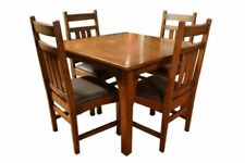 Oak Arts CraftsMission Style Dining Furniture Sets For Sale EBay - Mission style oak dining table and chairs