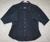 Gloria Vanderbilt Black Dress Shirt Long Sleeve striped Womens Medium Cotton Top