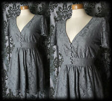 Goth Grey Lace Buttoned BOUND BY TIME Victorian Tea Dress 10 12 Vintage Lolita