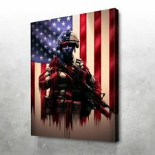 PURE VALUE SOLDIER AMERICAN FLAG Paper Posters or Canvas Framed Wall Art