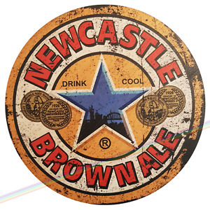 Circle Wooden Signs - NEWCASTLE BROWN ALE Man Cave Vintage Retro Wood Bar Sign