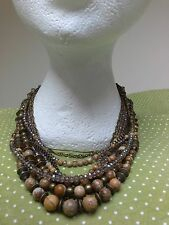 Picture Jasper gemstones Cleopatra STATEMENT multi-layered CHUNKY NECKLACE Boho
