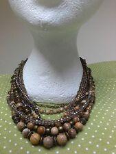 Picture Jasper gemstones Cleopatra STATEMENT multi-layered CHUNKY NECKLACE Boho