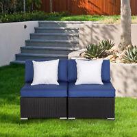 2 PCs Patio Rattan Sofa Furniture  Wicker Armless  Combinable Dark Blue