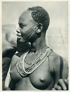 1930 photogravure SARA GIRL w Necklace semi nude African people vintage wall art
