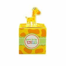 24 Giraffe Born To Be Wild Jungle Baby Shower Favor Boxes Party Animal Print