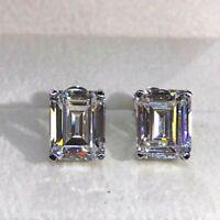 Certified 4.00 Ct White Emerald Cut Sparkle Diamond Stud Earring 14k White Gold