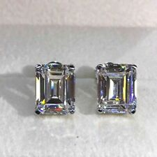 Certified 4.00 Ct White Emerald Cut Sparkle Diamond Stud Earring 14k White Gold