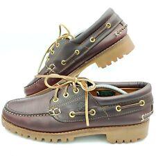 Vintage Brown Leather Timberland 3 Eye Vibram Lug Boat Shoe Mens Size 7.5 USA