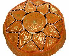 Pouf Moroccan Hassock Pooff Leather Pouff Ottoman Footstool Medium Orange