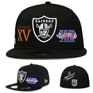 New Era Oakland Raiders Fitted Hat NFL Classic Super Bowl Champ Patch Over Cap