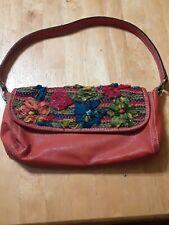 Chico's Orange Pebble Leather Shoulder Handbag Satchel Bag Floral Embroidered