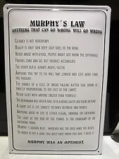 "MURPHY'S LAW, EMBOSSED(3D) METAL ADVERTISING SIGN 12""x 8"" (30 x 20cm) IRISH"
