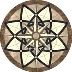 30 Inches Marble Coffee Table Top Handmade Patio Sofa Table with Geometrical Art