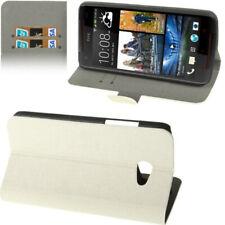Book Tasche für HTC Butterfly S / 9060 Leinen Optik in weiß mit Aufstellfunktion