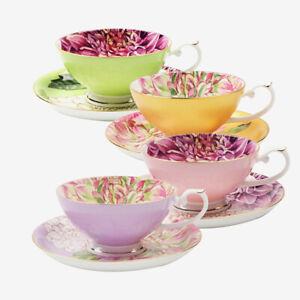 Pulchritudie Fine Bone China English Teacup and Tea Mug, Golden Rim, Set of 4