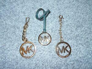 3 GENUINE! MK MICHAEL KORS SHINY GOLD LOGO PURSE DANGLERS LOT                 A2