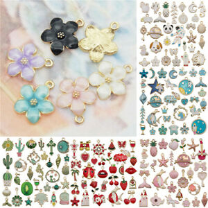Bulk Lots Mixed Alloy Enamel Pendants Charms Jewelry Bracelet DIY Making Craft