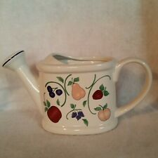 """Ceramic Watering Can White w/Fruit on Both Sides; Sm Hood """"Orchard Medley"""" China"""
