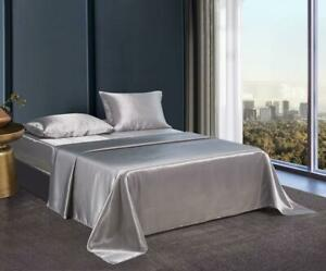 4 PC Satin Silky Soft Bed Sheet Set Queen/King Size Fitted Pillow Cases 5 Colors