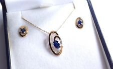 Vintage 9ct Gold Sapphire Diamond Pendant Necklace & Matching Post Earrings