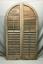 Antique Pair Arched Dome Top Wood Louvered Window Shutters 13X74 Red VTG 555-20B