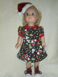 18 doll clothes fits American Girl - Christmas dress, shoes & Santa hat